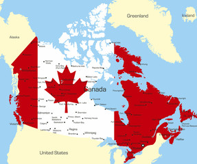 Map of Canada country coloured by national flag