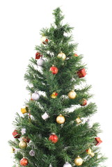 Decorated Christmas-tree on white background .