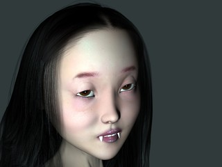 An 3D rendered vampire girl with fangs.
