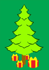 illustration of a big tree with gift box
