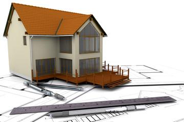 Modern house under construction