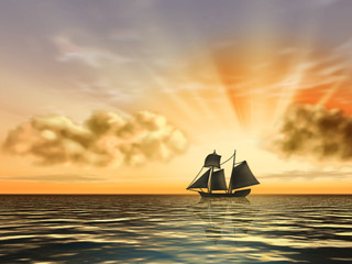 Sailship silhouette over a beautiful sunset.
