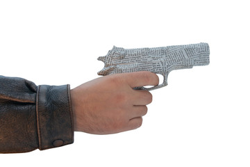 male hand with newspaper pistol on white background. fake