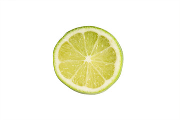 slice of lime isolated on white with clipping path