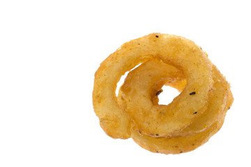 Isolated macro image of curly french fries.