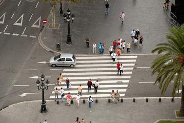 Crosswalk in Barcelona, Spain