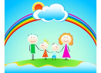 Poster Regenboog Happy four members family under rainbow