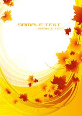 Autumnal orange background, vector illustration