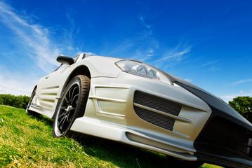 Tuinposter Snelle auto s silver sport car