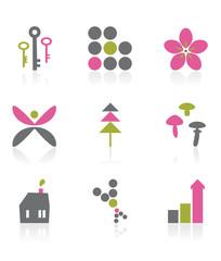 design elements - grey, pink, green