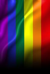 Gay pride flag waving in the wind