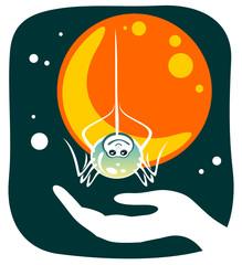 Cartoon spider and hand. Halloween illustration.