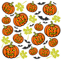 Cartoon pumpkins and bats. Halloween illustration.