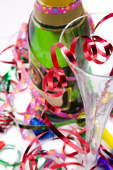 Bright and colorful party scene with champagne