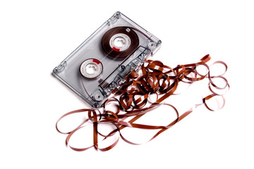 Old cassette music on white background