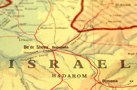 close-up map detail of Israel