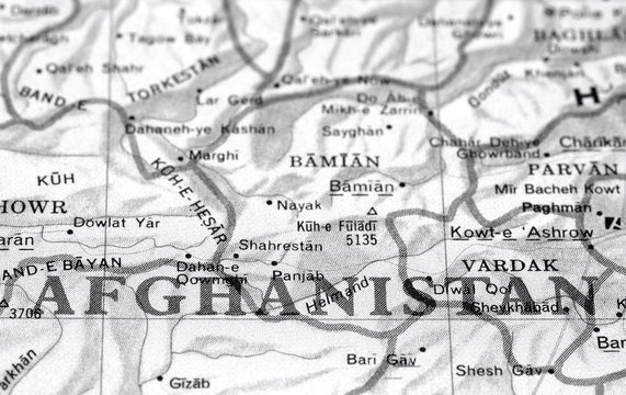 close-up map detail of afghanistan