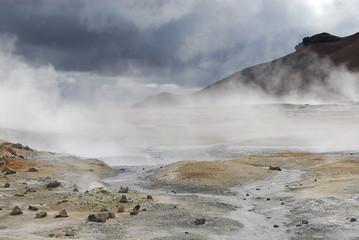 Field of mud geysers