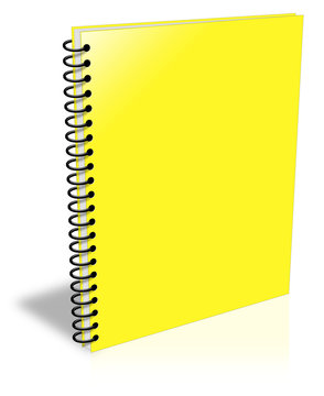 Blank yellow spiral notebook closed but empty ebook cover