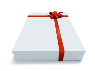 big present box and ribbon on white background