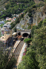 The train station of Monteroso, at the Cinque Terre in Italy