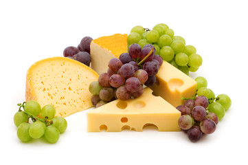 cheese and grape on white background
