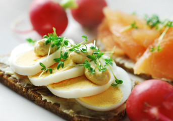 gesunder vollkornsnack mit ei und lachs