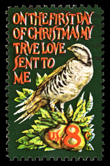 Partridge in a Pear Tree Christmas Stamp
