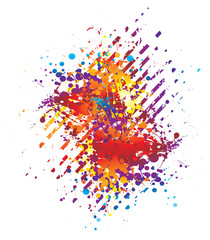 Abstract background in bright colours with ink splats
