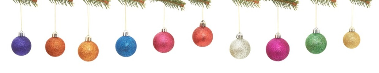 beatiful christmas ball and tree on white background