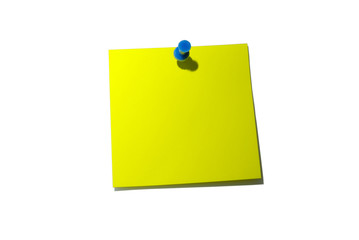 Note paper. Yellow sticky note. With shadow and clipping path.