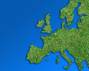 Conceptual image showing europe outline filled with grass