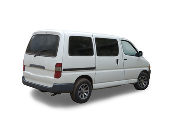 White passenger minibus on white. Isolated whith clipping path
