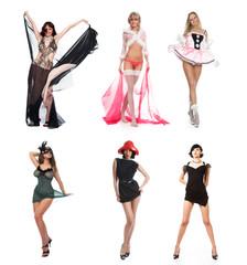 Six beautiful girls on a white background