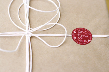 Gift wrapped present with ribbon