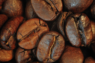 Extreme close up of coffee beans