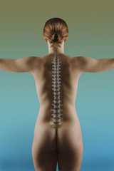 Woman With Spine Overlay