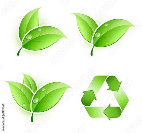 """foto de """"Feuilles et logo recyclage"""" fichier vectoriel libre de"""
