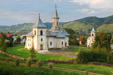 romanian moutain landscape and church,hdr image