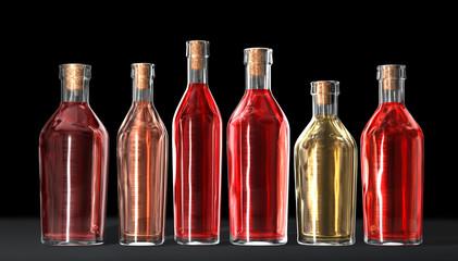 bottles of home wine on black background
