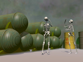 Halloween 3D, fun and creepy, skeletons dancing