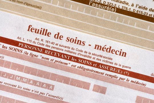 feuille,soin,soins,assurance, carte, vitale, docteur, hopitaux,