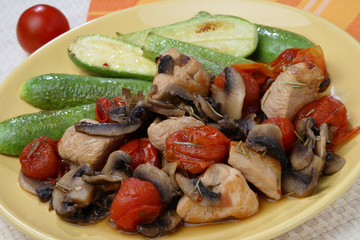 Chicken meat in Tuscan way on plate