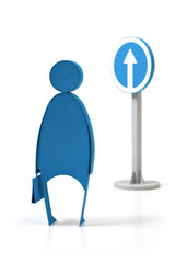 """The person costs opposite to a traffic sign """"forward""""."""