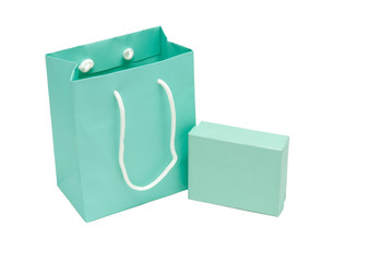Gift box and bag on white background