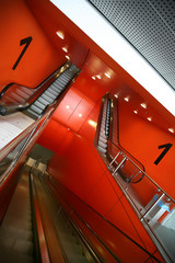 red interior of first floor in urban style