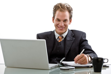 Businessman working on laptop computer, smiling,
