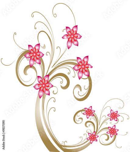 """arabesque de fleur rose"""" fichier vectoriel libre de droits sur la"""
