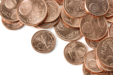 Euro cooper coins close-up.
