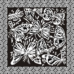 Abstract pattern from black-and-white butterflies in a framework
